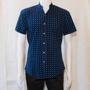 Indigo Short Sleeve Shirts | Poka Dots