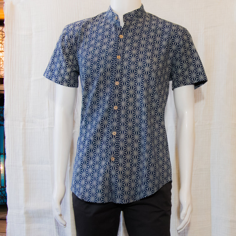 Indigo Short Sleeve Shirts | Geometric Flower