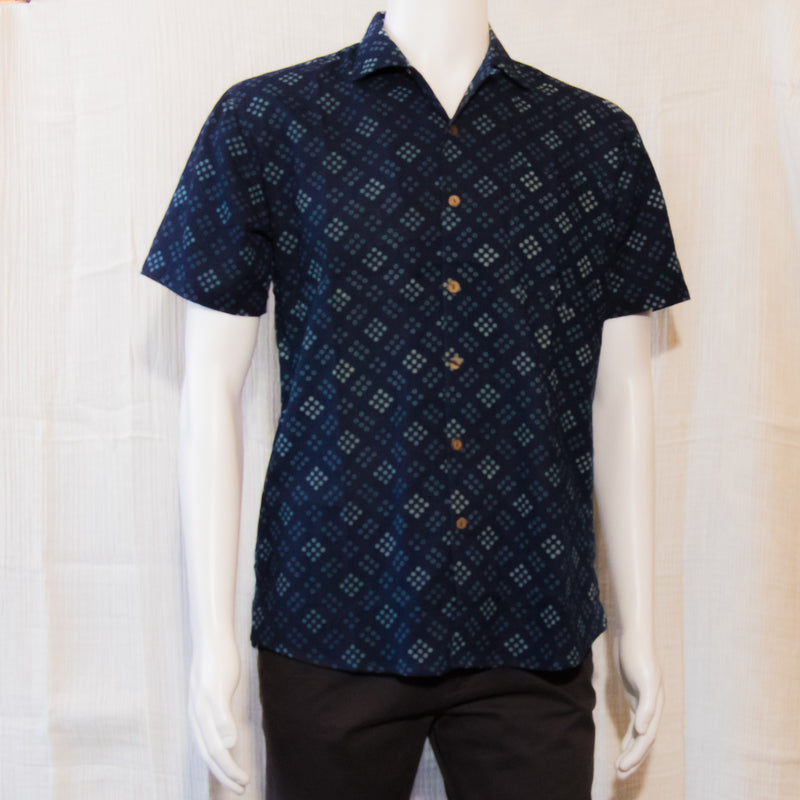 Indigo Short Sleeve Shirts | Squares