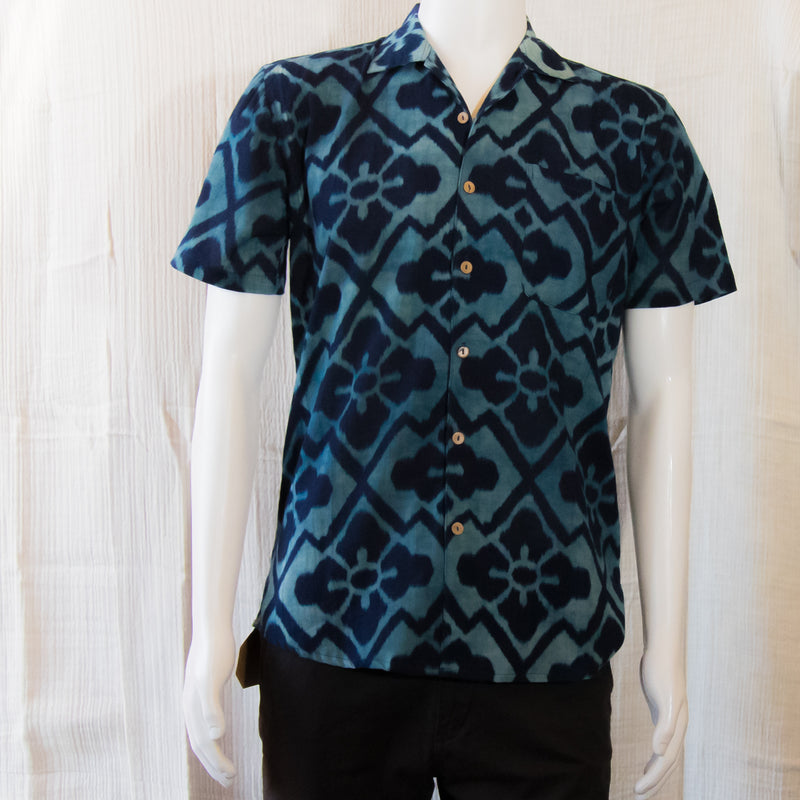 Indigo Short Sleeve Shirts | Indigo Thai Flower