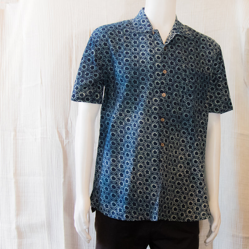 Indigo Short Sleeve Shirts | Circled Flowers
