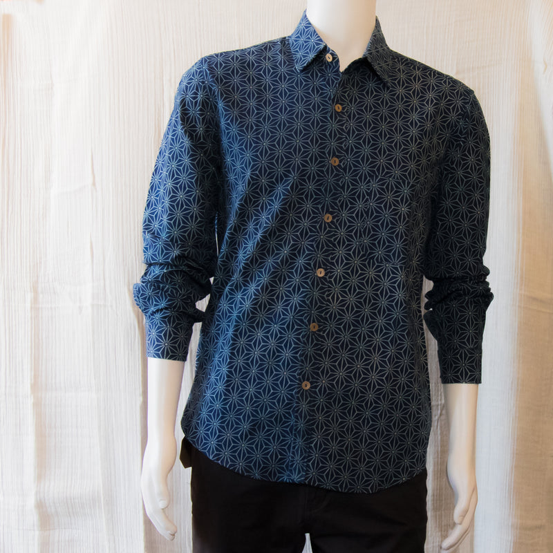 Indigo Long Sleeve Shirts | Geometric Flower