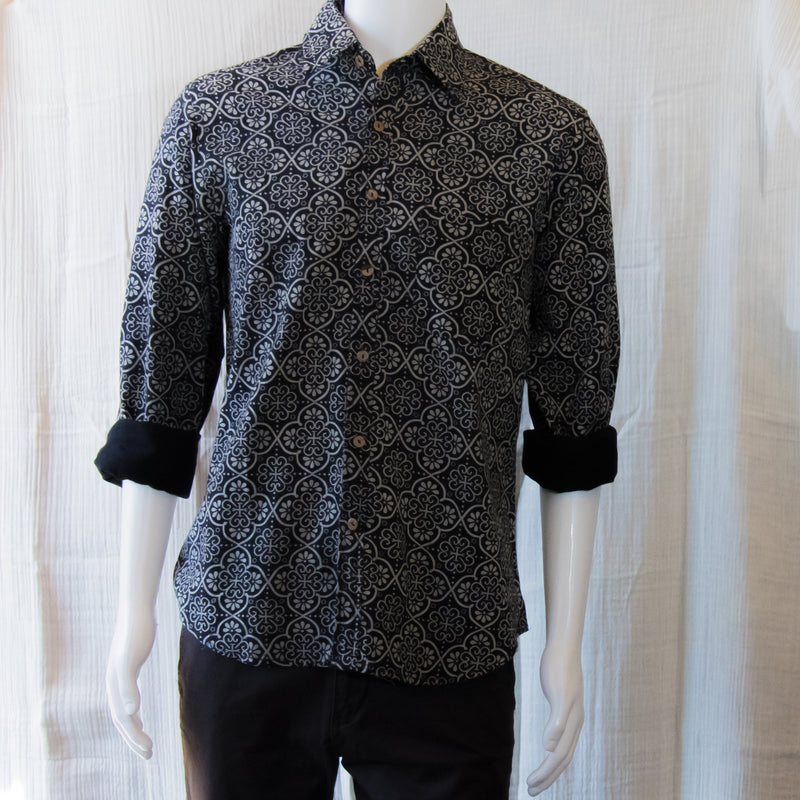Indigo Long Sleeve Shirts | Black Thai Flower