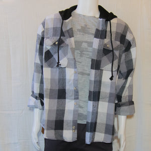 Up-cycled Vintage Plaid Shirt Hoodie | White