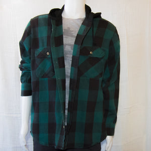 Up-cycled Vintage Plaid Shirt Hoodie | Green