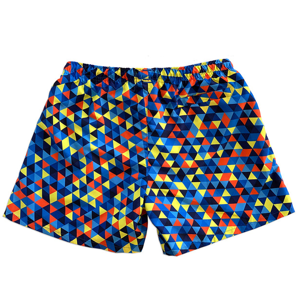 La Palma Eco-Beachwear Classic Geometrical Blue Sustainable Swim Trunk