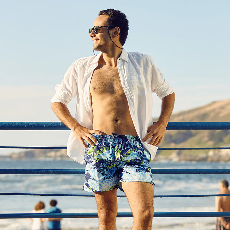 La Palma Eco-Beachwear Classic Botanical Sustainable Swim Trunks