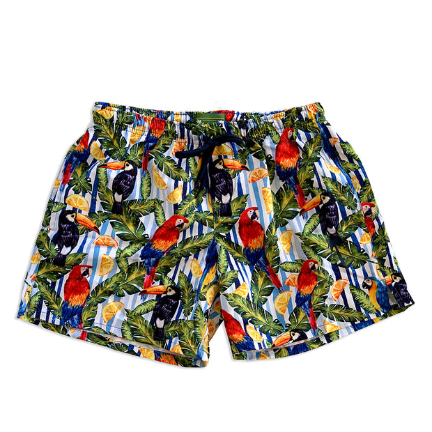Classic Tropical Style Sustainable Swim Trunks, Made From Upcycled PET Bottles
