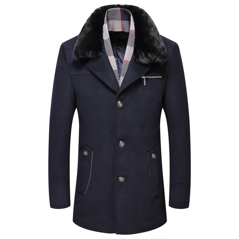 Men's Winter Wool Coat With Detachable Collar