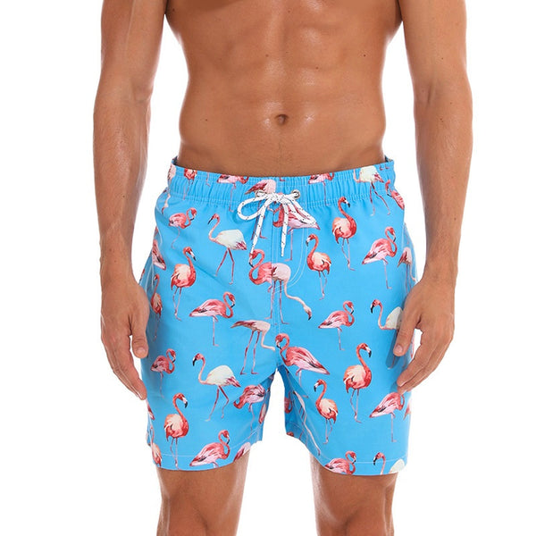 Flamingos Printed Beach Shorts