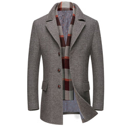 Gentlemen WOOL Pea COAT WITH SCARF