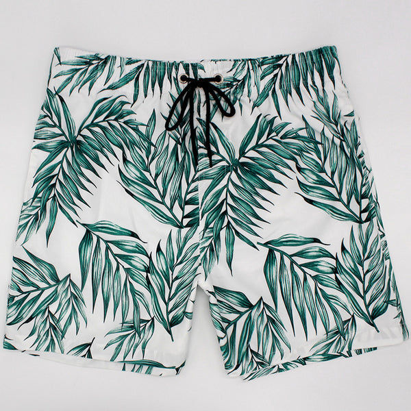 Leaf Printed Beach Shorts