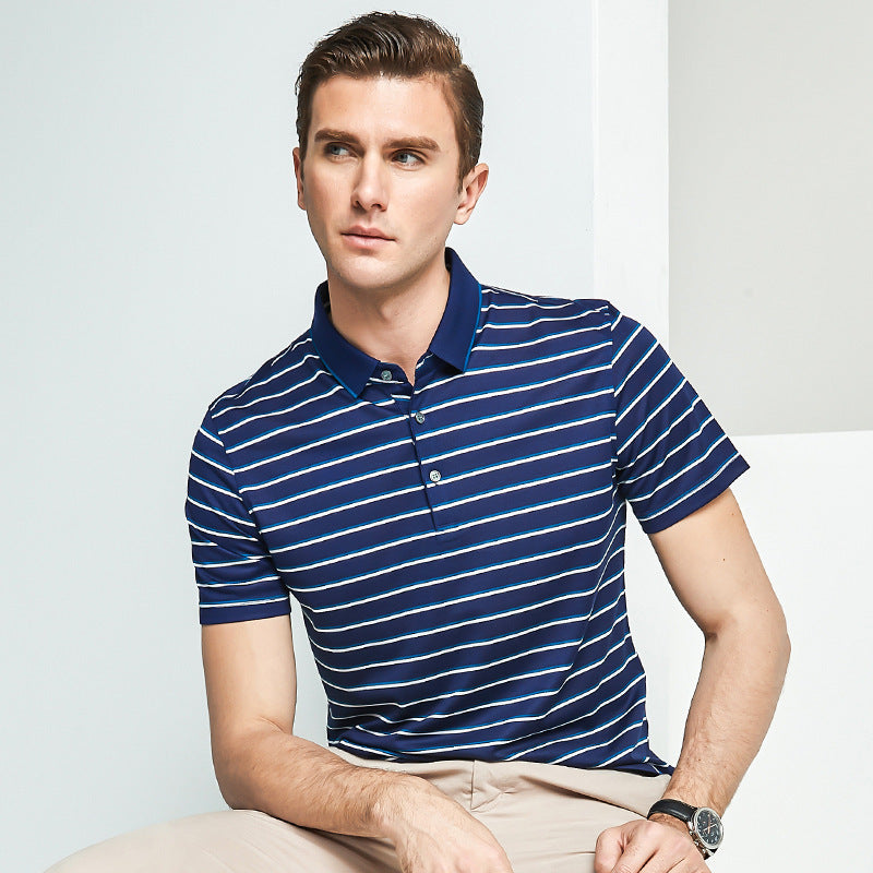 Premium Pure Silk Stripe Business Shirt