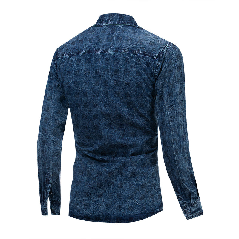 MEN'S CASUAL 100% COTTON PRINTED SHIRT #002