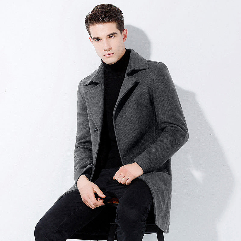 Men's Classic Long Wool Blend Coat