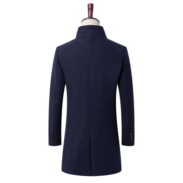 Gentlemen Wool Blend Long Pea Coat