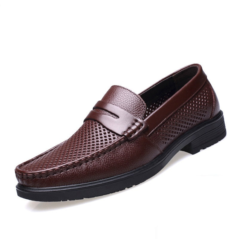 Leather Mesh Breathable Business Shoes