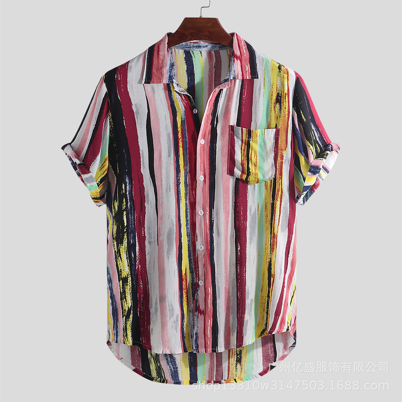 Men's Multi Color Graffiti Short Sleeve Shirts