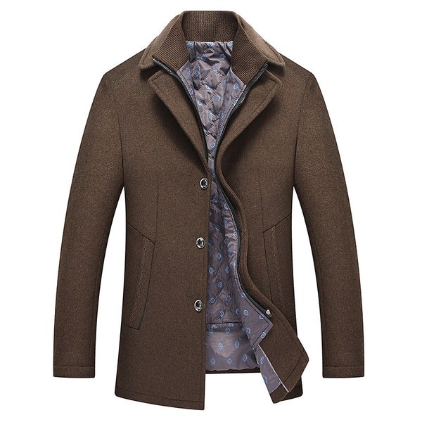 Men's Gentle Layered Collar Wool Pea Coat