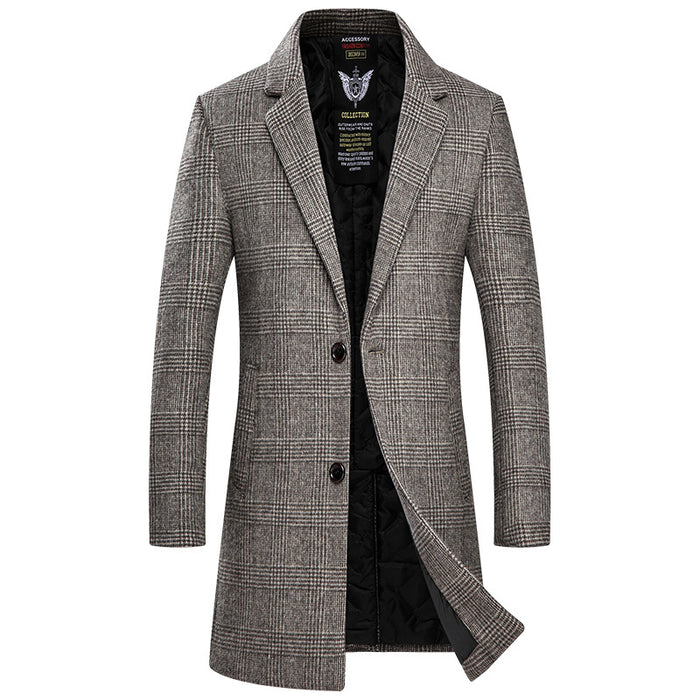 UniteMen Men's Top Fitted Wool Pea Coat