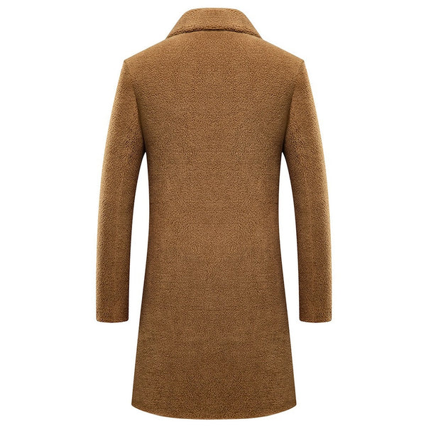 Men's Granulated Wool Long Fur Coat