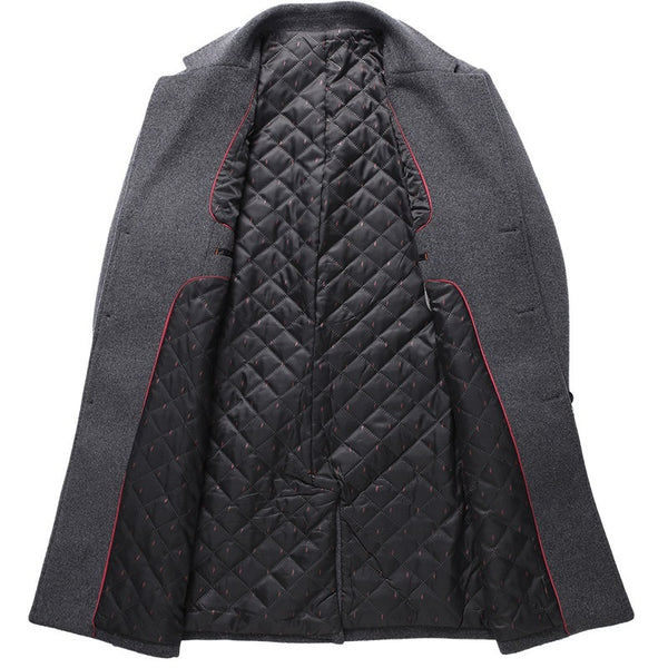 Men's Thicken Classic Business Wool Pea Coat