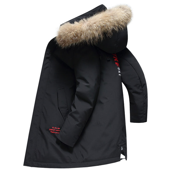 Men's Winter Outdoor Fur Hooded Down Jacket