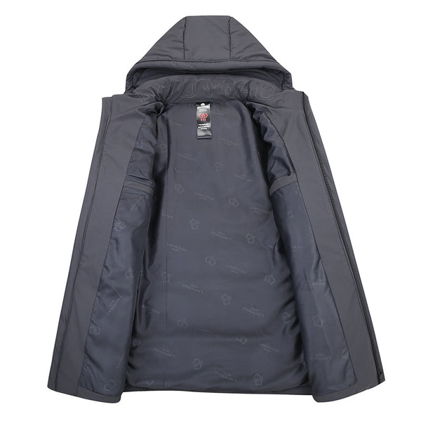 Men's Winter Long Down Jacket With Detachable Hood