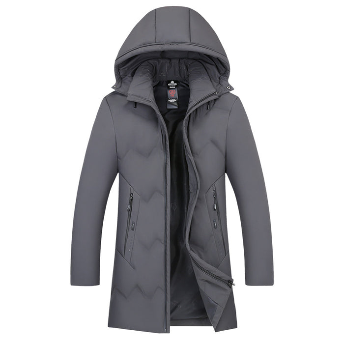 UniteMen Men's Winter Long Down Jacket with Detachable Hood