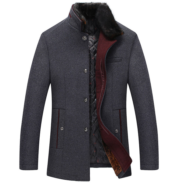 Men's Warm Wool Jacket With Fur Collar