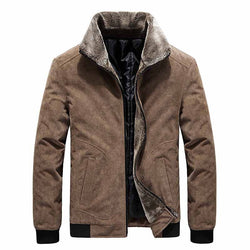 Men's Winter Corduroy Jacket With Fur Collar