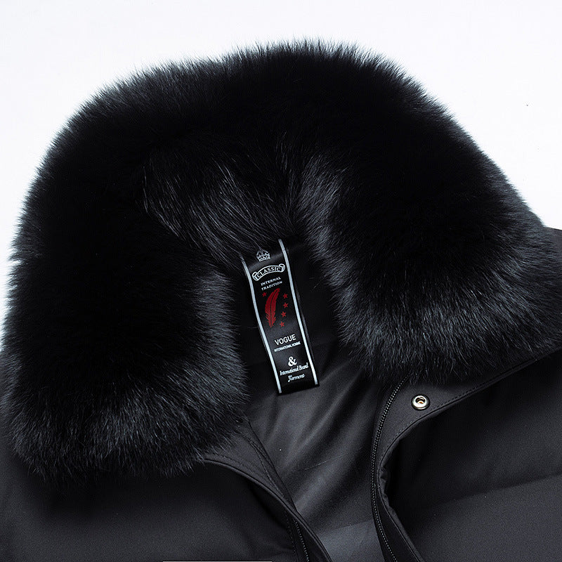 Winter Warm Down Jacket With Detachable Fox Fur Collar