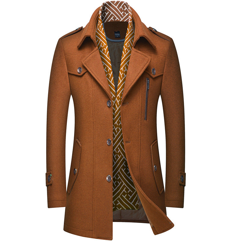 Men's Classic Slim-Fit Wool Coat With Scarf