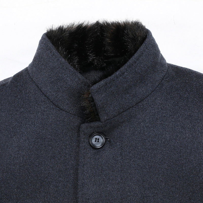 Winter Thicken Detachable Duck Down Lining Wool Coat