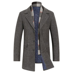 Men's Top Slim-Fit Wool Coat With Scarf