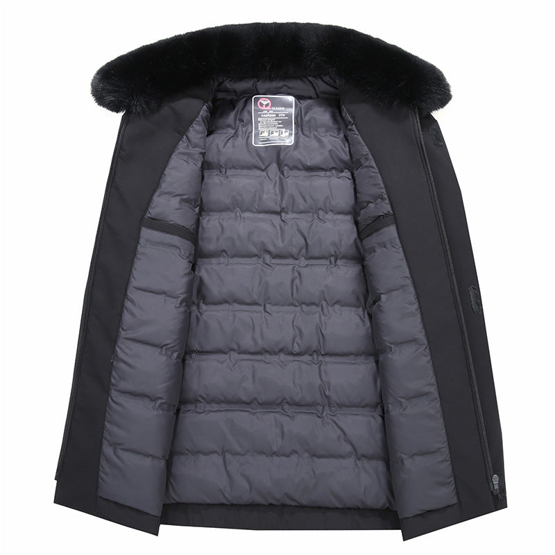 MEN'S WARM DOWN JACKET WITH DETACHABLE FUR COLLAR