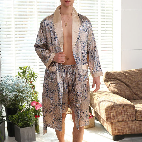 Two Pieces Summer Thin Silk Pajamas (Robes + Shorts)