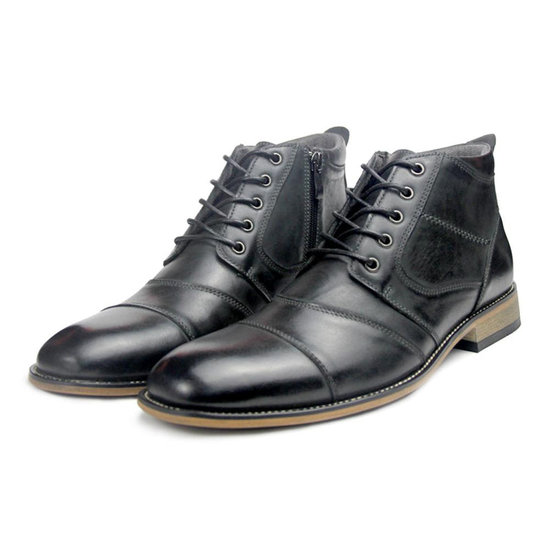 Men's Leather Dress Boots With Zipper