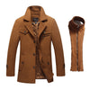 Men's Long Style 50% Wool Coat With Detachable inner collar
