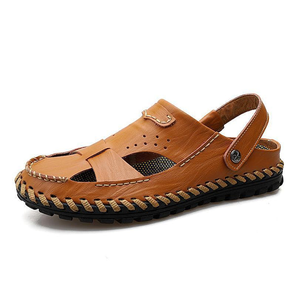 Pearlyo_Men's Closed Toe Outdoor Beach Leather Sandals