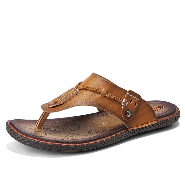 Pearlzone_Men's Open Toe Flip-Flops with Adjustable Strap Buckle