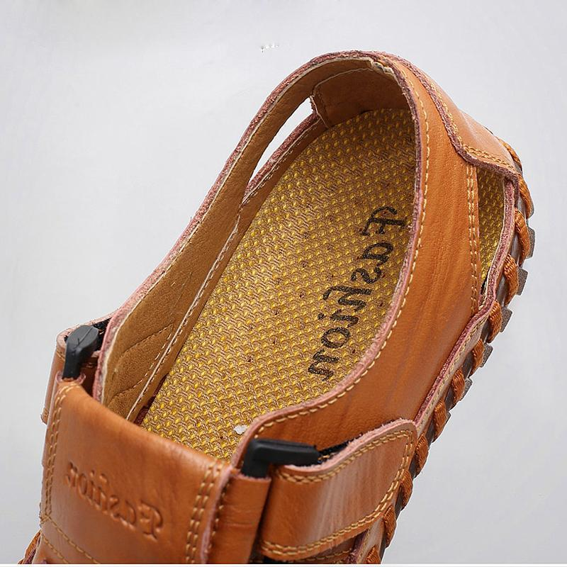 Pearlyo_Men Soft Cow Leather Large Size Hand Stitching Hook Loop Sandals