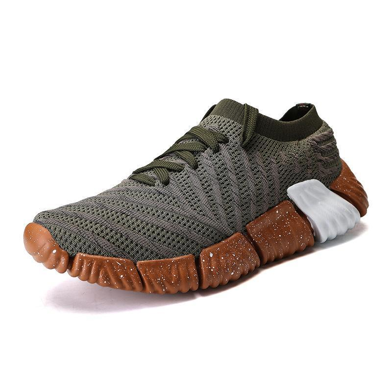 Pearlyo_Men's Flying Knit Round-Toe Non-slip Sport Shoes
