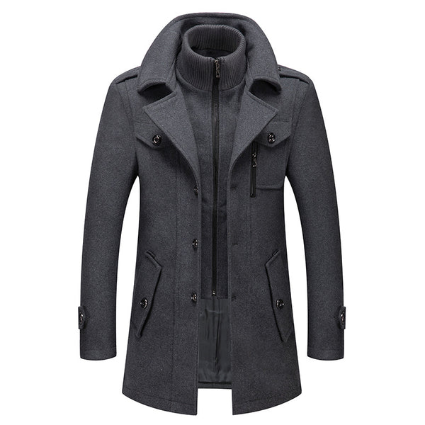 Men's Classic Thicken Double-Layer Collar Wool Coat