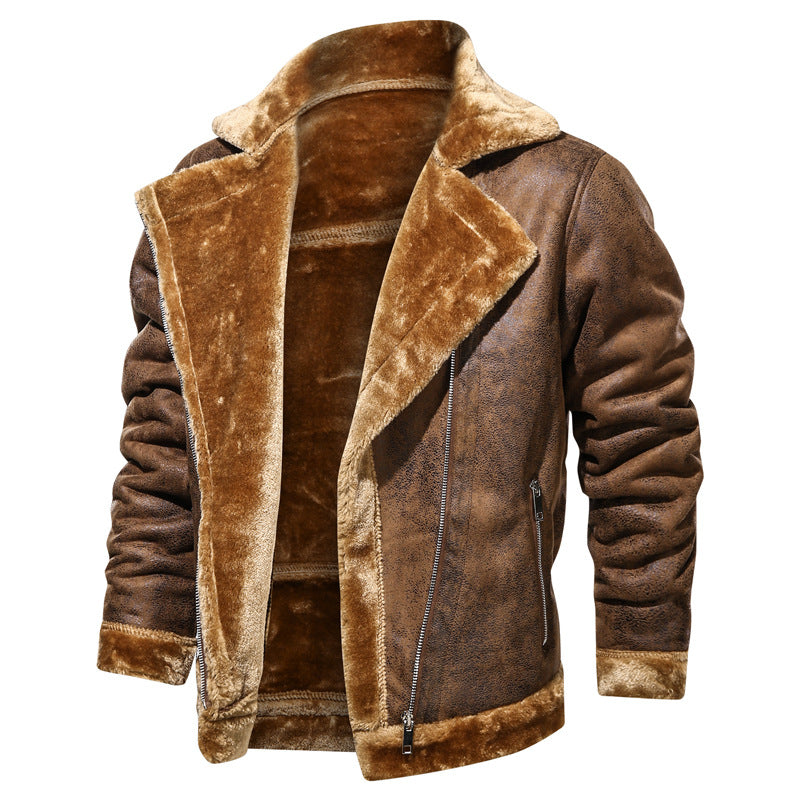 Premium Men's Thick Fleece Leather Jacket