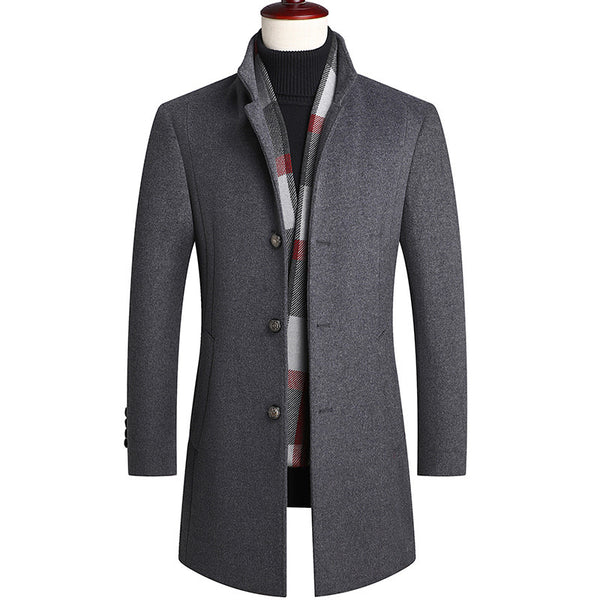 Men's Classic Thicken Slim Fit Wool Coat With Scarf