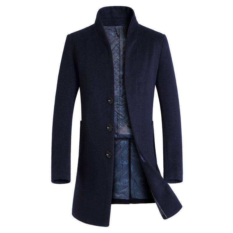 Men's Business Slim Wool Long Pea Coat