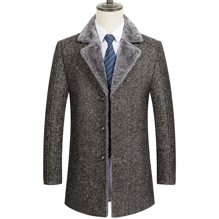 UniteMen Men's Premium Fur Collar Wool Pea Coat