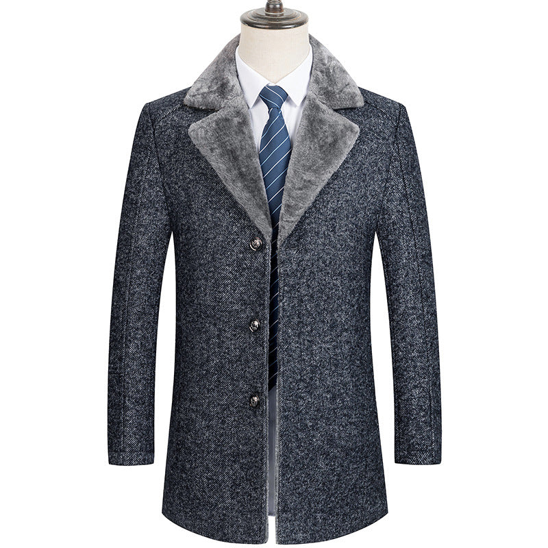 Men's Premium Fur Collar Wool Pea Coat