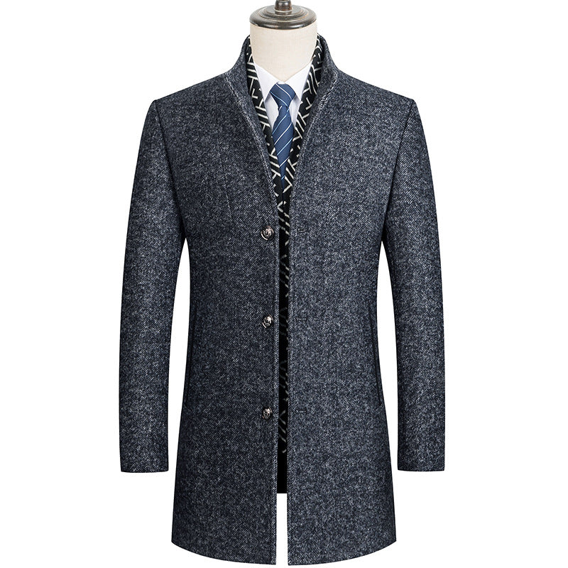 Men's Classic Detachable Scarf Wool Coat